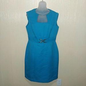 Tahari Sleeveless Horseshoe Faille Sheath Dress